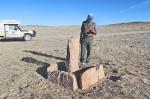 MONGOLIA 192 (GOBI- HACIA BOGD SUM) UN TAMGA, MONOLITO RELIGIOSO, ALGUNOS PUEDEN DATAR DE LA EDAD DE BRONCE
