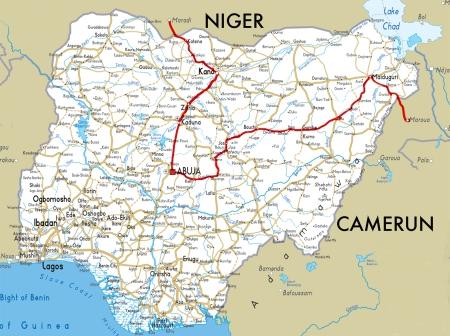 NIGERIA - POR UN PROBLEMA CON NUESTRA CAMARA DE FOTOS Y LA POLICIA, SOLO PODEMOS MOSTRAROS NUESTRO RECORRIDO RECORRIDO ENTRE NIGER Y CAMERUN